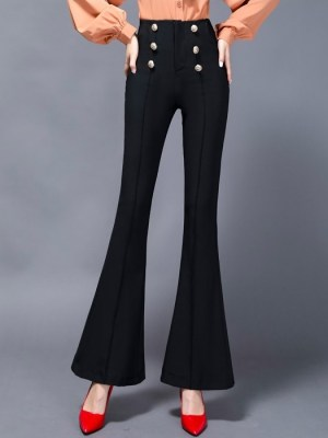 Jeongyeon – Twice Black Buttoned Flared Pants (22)