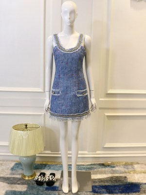 Jisoo Blackpink – Fringe Tweed Sleeveless Mini Dress (5)