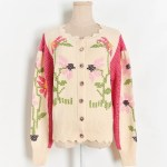 Flower Designed Knit Cardigan | Joy – Red Velvet