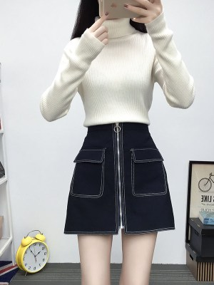 Mina – Twice Black Ring Zipper Pocket Short Skirt (1)