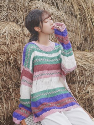 Multicolored Knitter Round Neck Sweater (5)