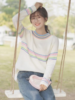 Multicolored Thin Stripes Sweater
