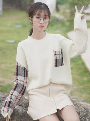 Plaid Sleeves And Pocket Sweater