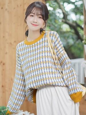Retro Checkered Plaid Cute Sweater