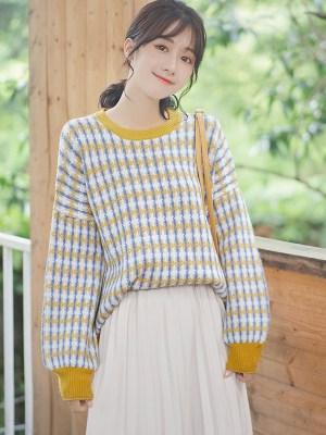 Retro Checkered Plaid Cute Sweater (6)