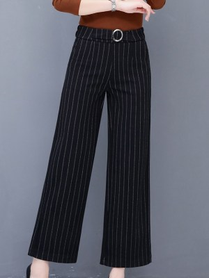 Rose – Blackpink Striped Wide-Leg Pants (7)