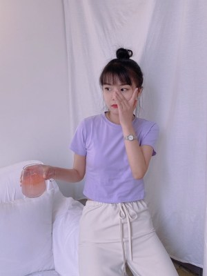 Rose Lilac Short Sleeve Short T-Shirt (3)