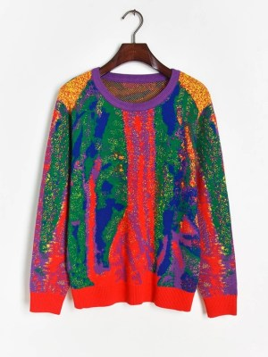 Sehun-EXO Multicolored Wool Sweater (6)