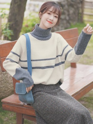 Turtleneck Grey And White Sweater (3)