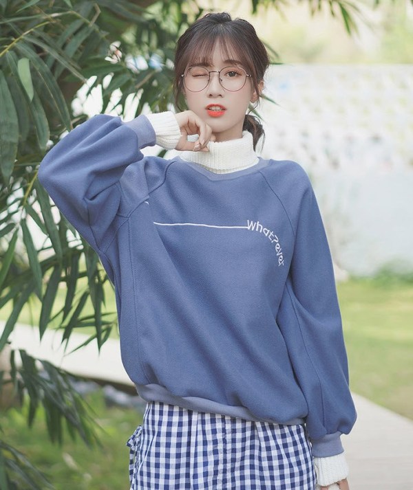 Whatever Turtleneck Blue Sweater