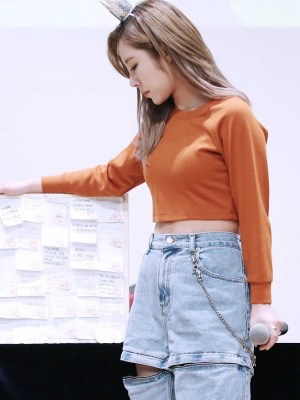 Cut-Off Pointed Denim Pants | Wheein – Mamamoo