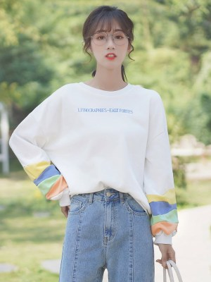White Lithohraphies Sweater With Colorful Sleeves (4)