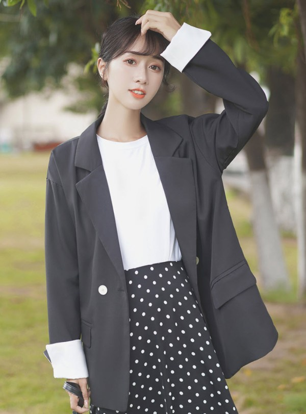 Black One Button Suit Jacket