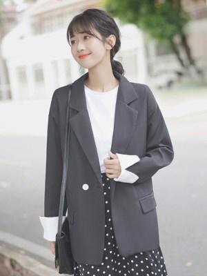 Black One Button Suit Jacket