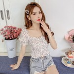 Floral Drawstring Knot Cropped Top | Chung Ha