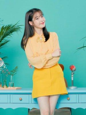 Yellow A-Line Denim Skirt | IU