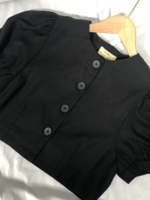 Irene Black Buttoned Puff Sleeve Blouse (1)