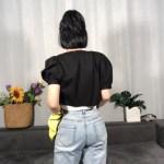 Black Buttoned Puff Sleeve Blouse | Irene – Red Velvet