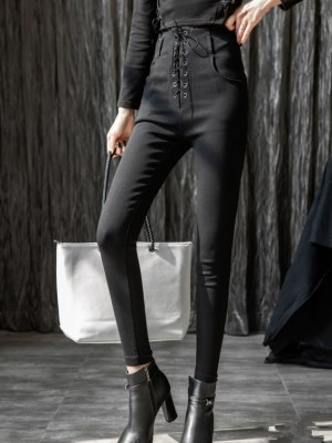 Irene Black High Waist Tie Fit Pants (1)