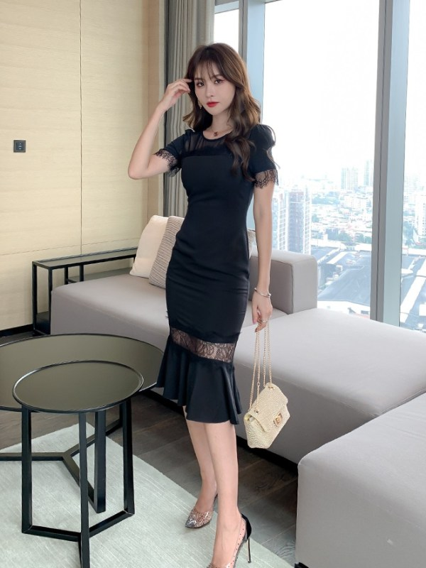 Black Fluted Hem Lace Dress | Jihyo- Twice