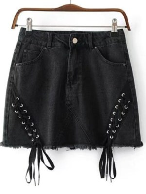 Jisoo Black Side Tie Denim Skirt (12)