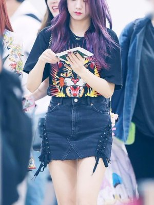 Black Side Tie Denim Skirt | Jisoo – BlackPink