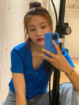 Sapphire Blue Button Top   Joy – Red Velvet
