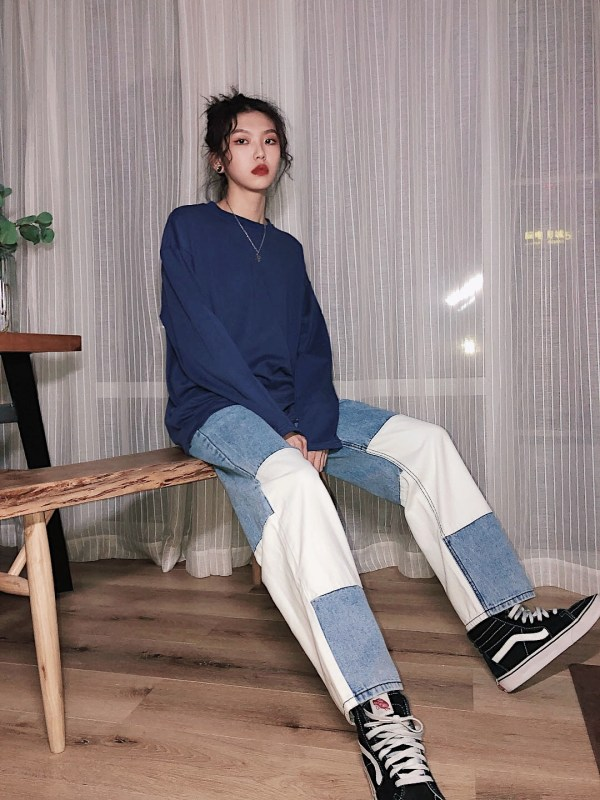 Color Block Denim Jeans | LeeKnow – Stray Kids