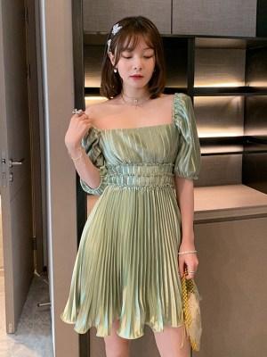 Miyeon – (G)I-DLE Silky Matcha Green Dress (9)