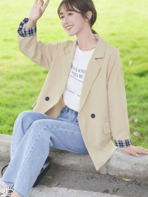 Plaid Cuffs Design Beige Jacket