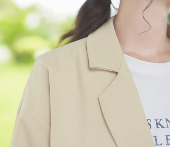Plaid Cuffs Design Beige Jacket