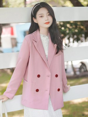Red Buttoned Pink Suit Jacket (2)