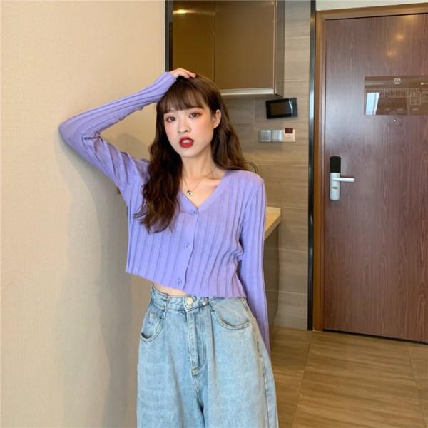 Purple Cropped Cardigan | Ryujin – ITZY