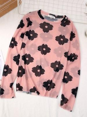 Soojin – (G)I-DLE Flower Print Mesh Top (4)