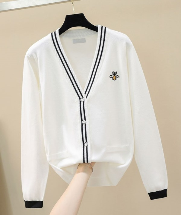 Navy Blue Cardigan With Bee Embroidery | Taeyong – NCT
