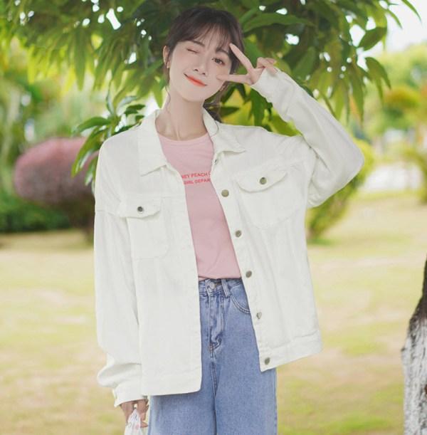 White Denim Street Style Jacket