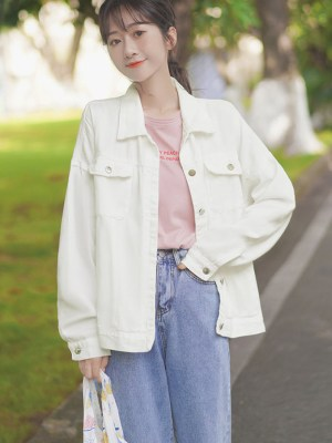 White Denim Street Style Jacket (5)