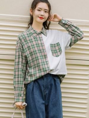 Asymmetric Green Plaid And Plain Side Shirt (3)