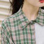 Asymmetric Green Plaid And Plain Side Shirt