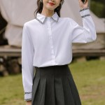 Black Tweed Lace Outlined White Shirt