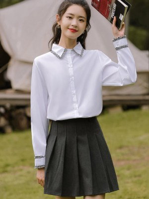 Black Tweed Lace Outlined White Shirt (1)