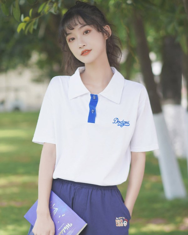 Blue Embroidery Designed Polo T-Shirt