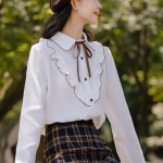 Brown Outlined Ruffles White Shirt