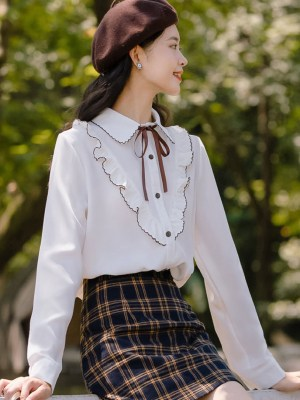 Brown Outlined Ruffles White Shirt (5)