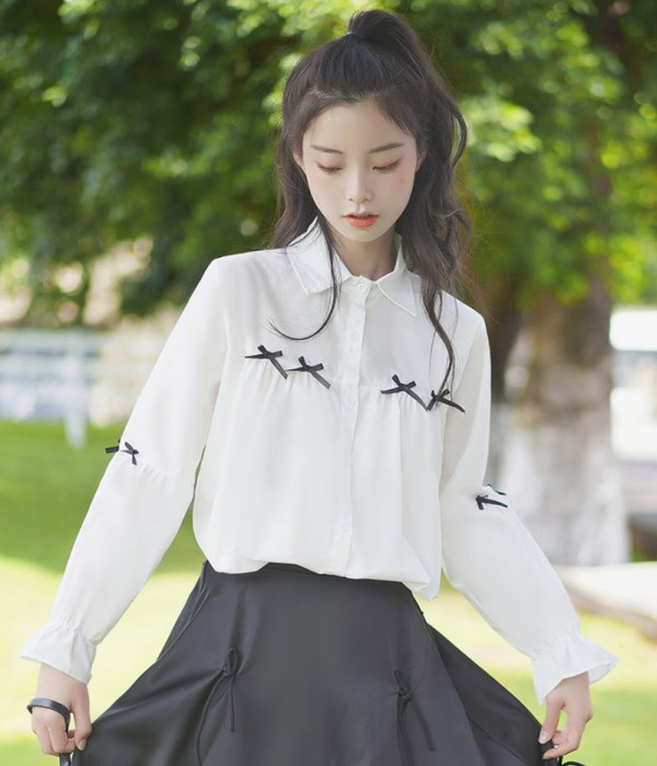 Cute Accent Bows White Shirt