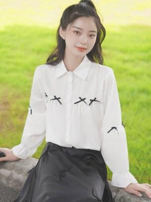 Cute Accent Bows White Shirt (5)