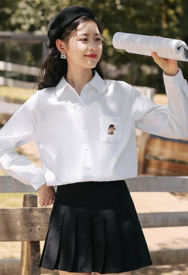 Embroidered Bear Pocket Designed Shirt