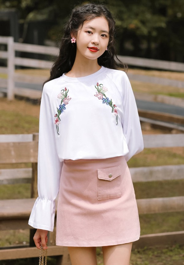Embroidered Flowers White Blouse
