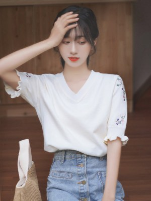 Floral Embroidery Designed T-Shirt