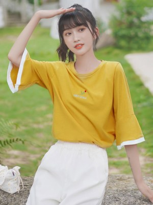 Golden Yellow Bell Sleeved T-Shirt (4)